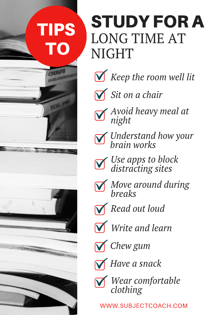 tips to study for a long time at night
