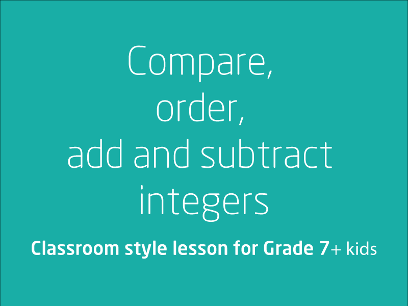 SubjectCoach | Compare, order, add and subtract integers