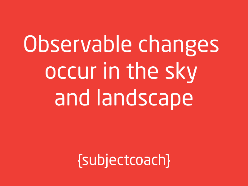SubjectCoach | Observable changes occur in the sky and landscape