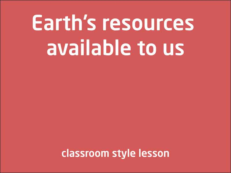 SubjectCoach | Earth's resources