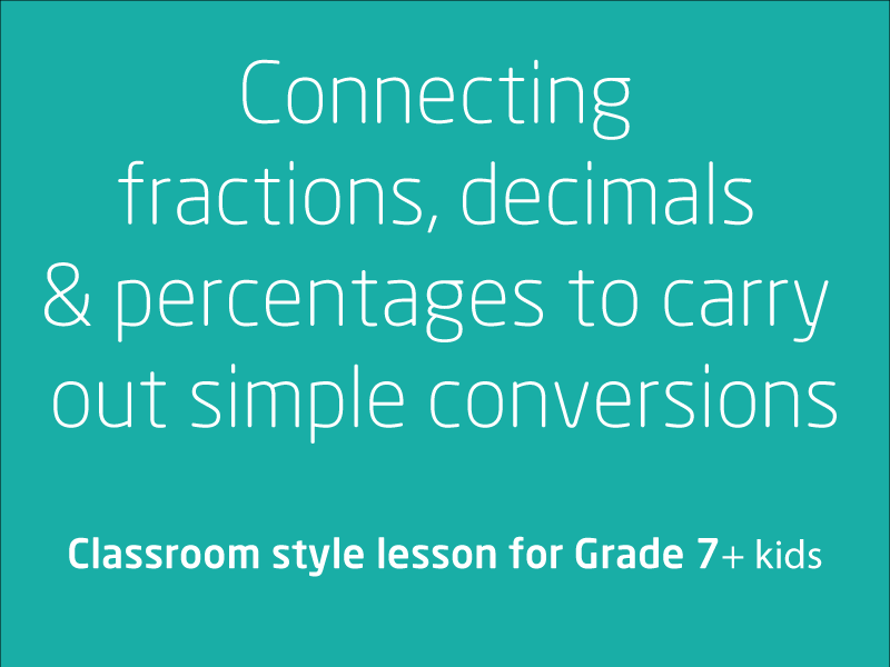 SubjectCoach | Connecting fractions, decimals and percentages to carry out simple conversions