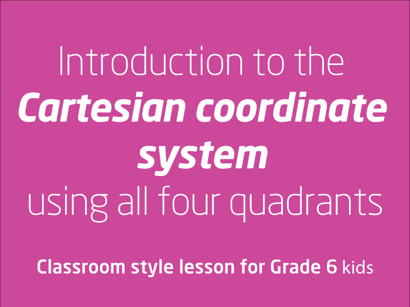 SubjectCoach | Introduction to the Cartesian coordinate system using all four quadrants