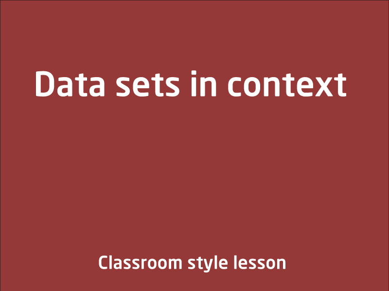 SubjectCoach | Describe and interpret different data sets in context