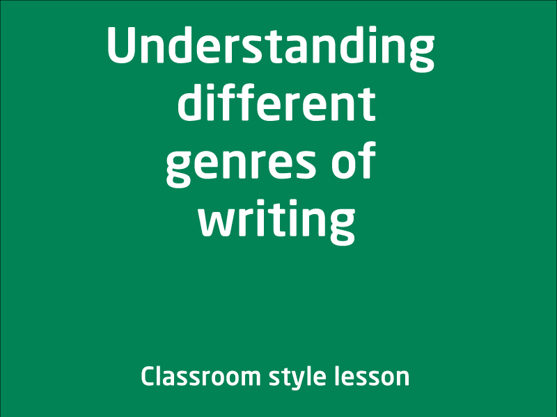 SubjectCoach | Understand different genres of writing