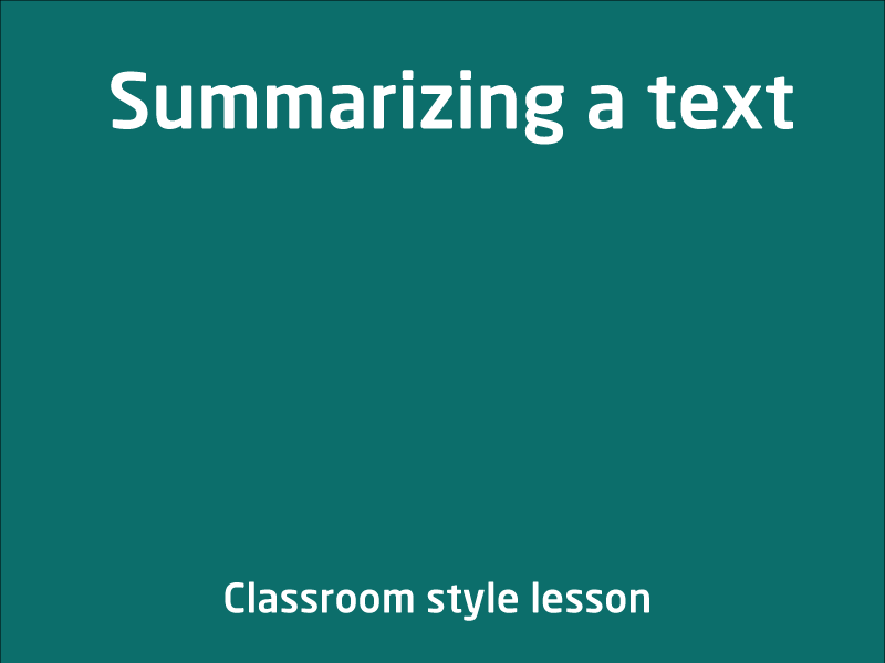 SubjectCoach | Summarizing a text