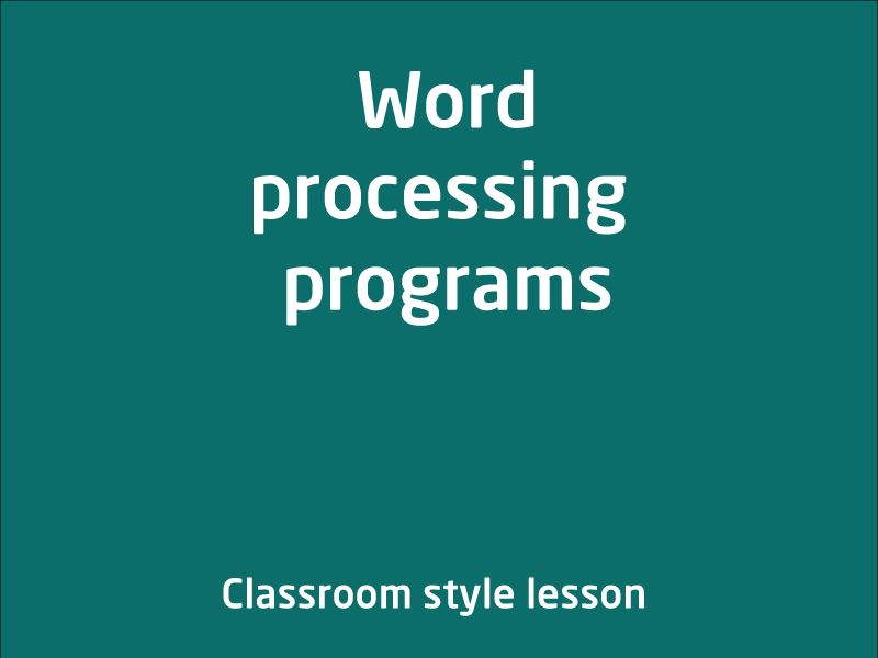 SubjectCoach | Word processing programs