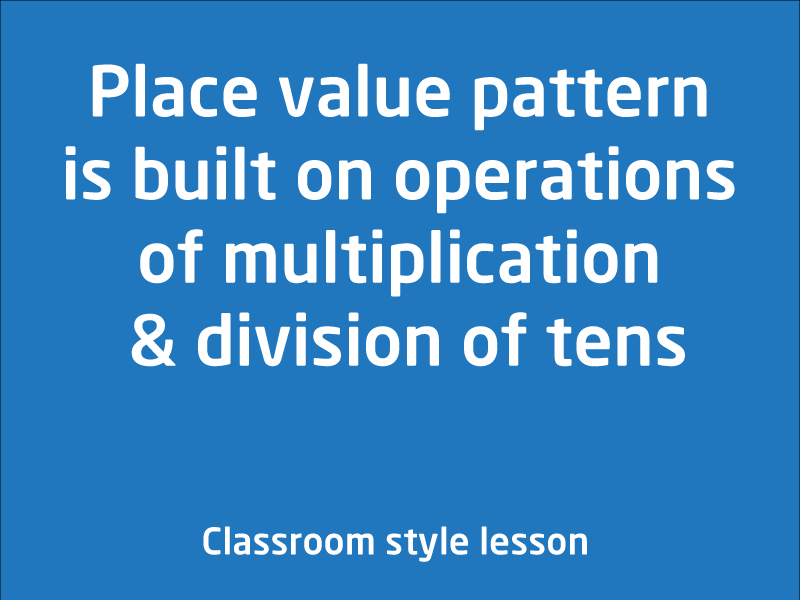 SubjectCoach | Place value pattern is built on operations of multiplication & division of tens