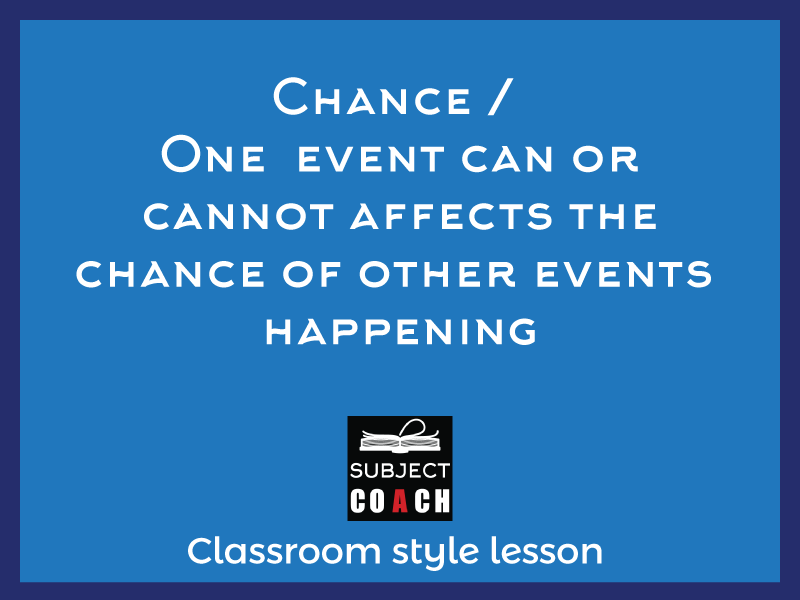 SubjectCoach | Chances of one event will or will not be affected by the occurrence of other
