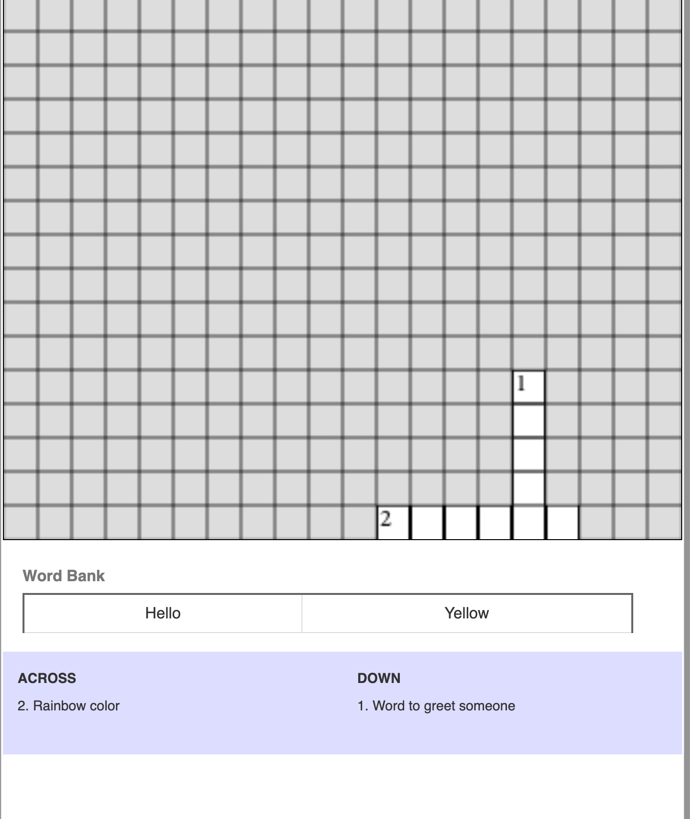 Crossword Worksheet Generator
