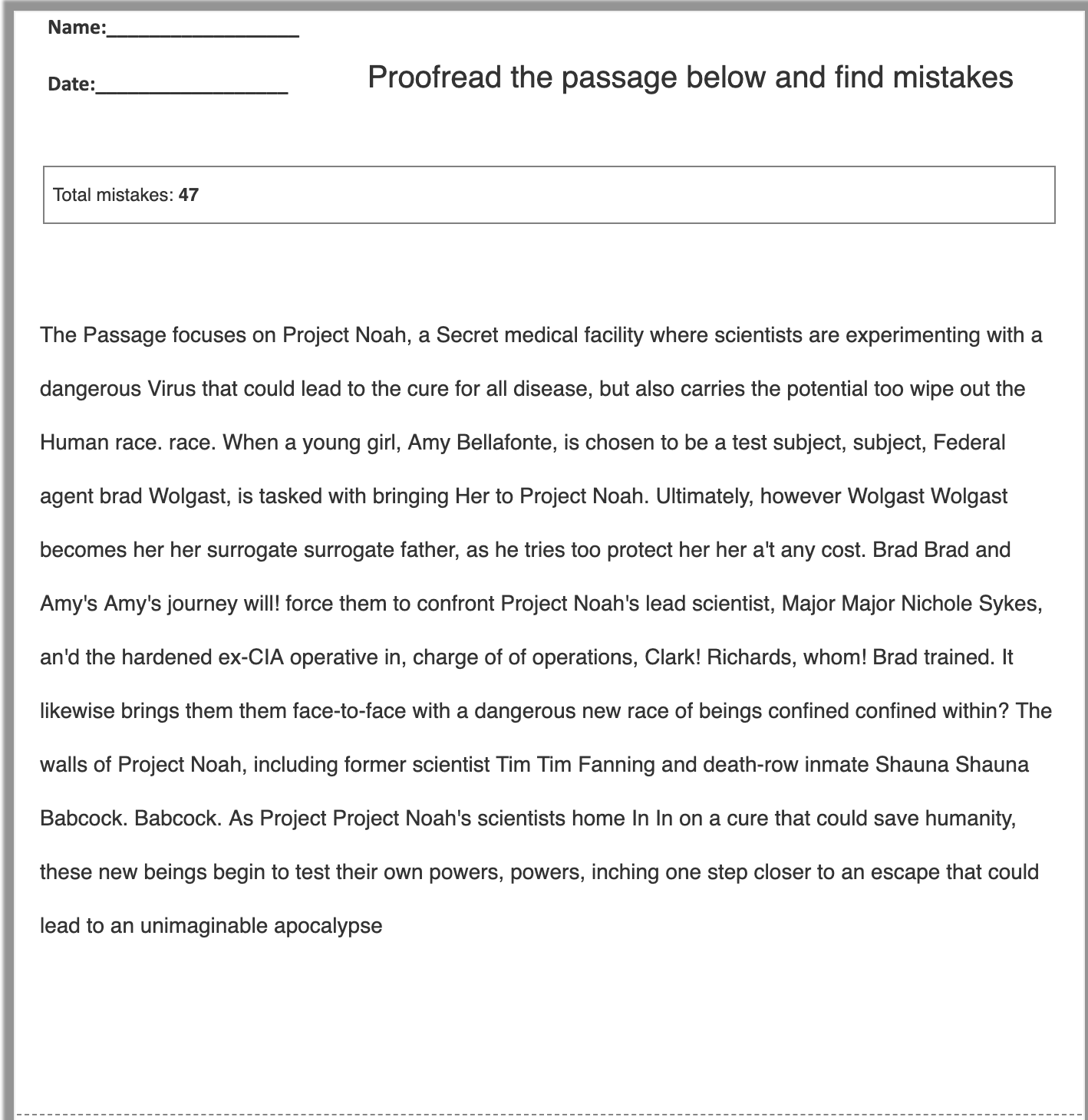 Correcting Mistakes (Proofread) Worksheet Generator