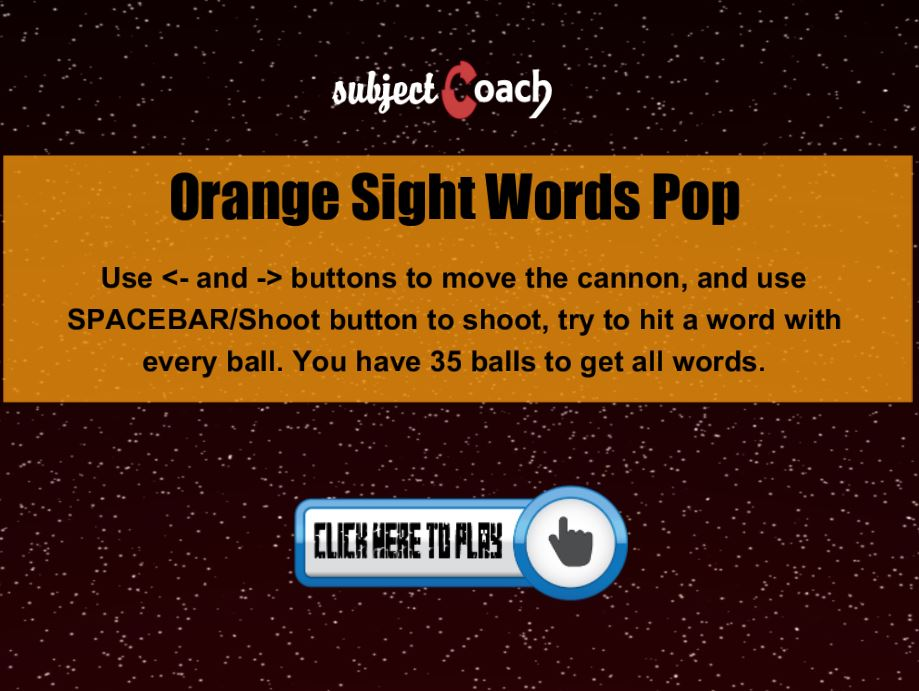 Learn orange sight words