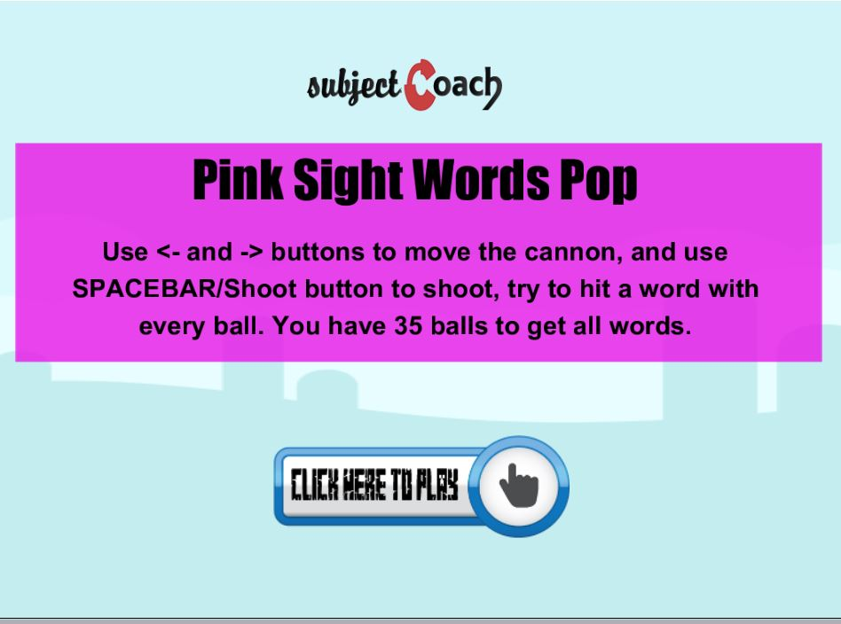 Learn pink sight words