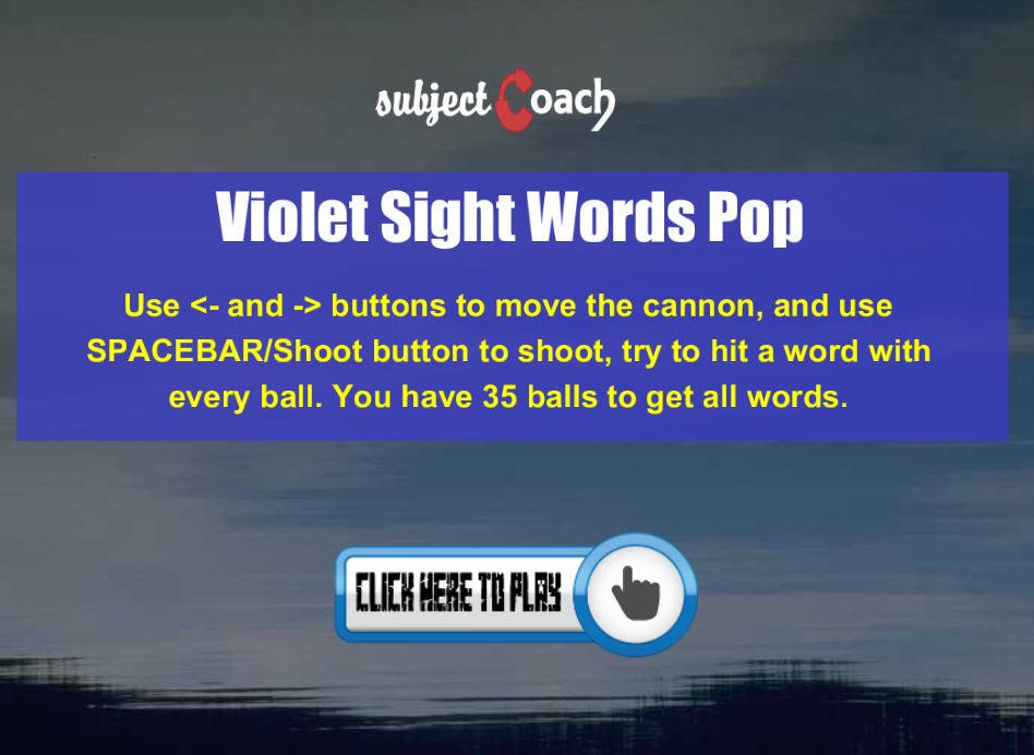 Learn violet sight words